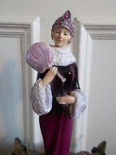ART DECO LADY PINKY RED BURLESQUE FAN FIGURINE STATUE VINTAGE WINTER WONDERLAND