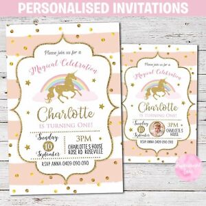 PRINTED Personalised UNICORN Birthday Party Invitations Invites 1st Pink Gold