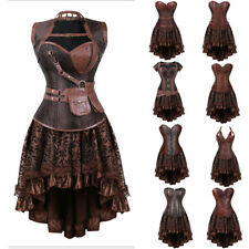 Burlesque Costume Corset Skirt Set Basque Cincher Bustier Steampunk Gothic 6-24