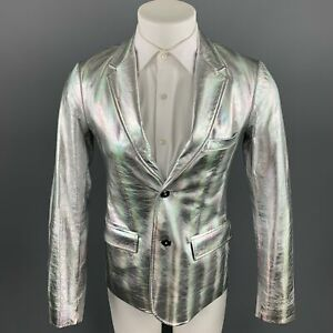 MARC by MARC JACOBS Size 38 Silver Iridescent Leather Sport Coat