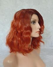 Short Thick Shaggy Copper Red. Side Part, 2 Tone, Full Synthetic Wig - #14
