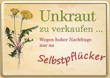 Blechpostkarte Unkraut zu verkaufen…, 15 x 11 cm