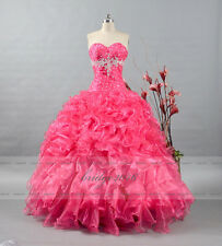 Sweetheart Quinceanera Dress Ball Gown Hot Pink Prom Pageant Dress Size 6