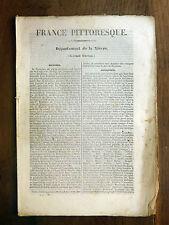 HUGO France Pittoresque  NIÈVRE Nivernais 1835 Avec carte & 5 gravures
