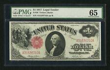 U.S.  1917  $1 LEGAL TENDER BANKNOTE, GEM UNCIRCULATED, FR-36, CERTIFIED PMG 65
