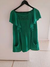 New VIRTU Green Top SIZE 18 Pintucked Front Ruffled Sleeve  Pockets