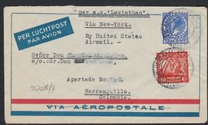 1931 Netherlands Netherlands Postal Ship Paquebot Cover SS LEVIATHAN to Colombia