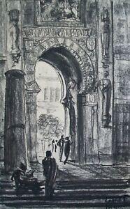 LORNE E. MARKEL - 'Cordova Mosque' - Orientalist Charcoal Drawing - Circa 1911