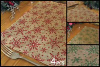 Set of 4 Christmas Glitter Snowflake Dinner Table Place Mats - Green / Red