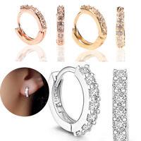 Women Ladies Crystal Circle Hoop Ear Stud Earrings Charm Wedding Party Jewelry