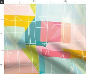 Mid Century Abstract 1950s Geometric Arrows Spoonflower Fabric by the Yard