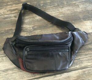 festival bag bum bag hipster waist pouch detachable hip bag Made in Italy Vintage 80s  90s brown leather belt bag OR crossbody bag