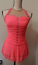 Del Arbour Custom Coral  Ice Skating Competition  Dress Size 4-6