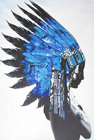 """street print indian chief blue feather  art painting poster for glass frame 36"""""""
