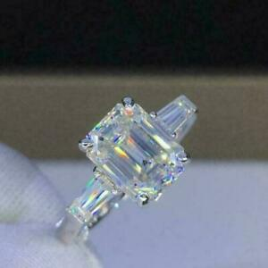 925 Silver Emerald Cut White CZ 3 CT 3 Stone Engagement Ring 14k White Gold Over