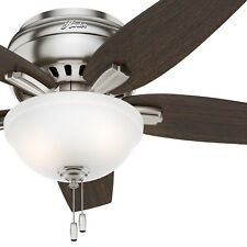 """42"""" Hunter Low Profile Ceiling Fan in Brushed Nickel with Bowl Light Kit"""