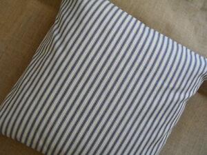 Blue & Cream Striped Cotton Ticking Cushion Cover - Choose Size