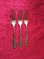 "Three Art Deco Extra A Silver Plate Dessert/Dinner Forks. Sheffield 6.75"" Long"