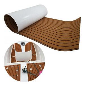 "Car Non-skid EVA Foam Brown Teak Look Flooring Mat Carpet Soundproof 94.5X17.7"""