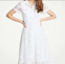 8532e00509 Ann Taylor Floral Lace Shirt Dress White Sz 10