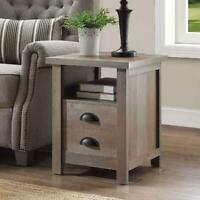 Rustic Gray Modern Farmhouse End Barn Table Nightstand Shelf Storage Furniture