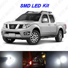 7x White LED Interior Bulbs + License Plate Lights for 2005-2016 Nissan Frontier