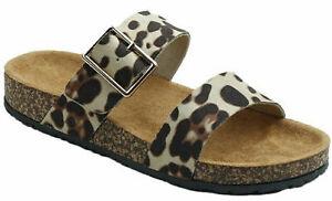 Thomas Calvi Women's Sliders Leopard Print Summer Sandals, Slip On Slippers