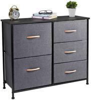 Cerbior Fabric Chest of 5 Drawers Dresser  Furniture Bedroom Cabinet Storage