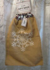 New One Large Burlap Christmas Gift Bag Sack W/ Pull String Snowflake One Sided