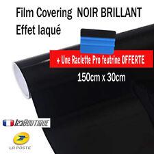 Film vinyle covering noir brillant 150 x 30 cm thermoformable adhésif + raclette