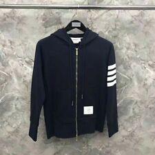 THOM BROWNE Men Women zipper hoodie Sweatshirt coat jacket Light