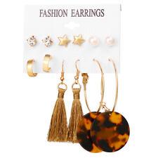 6Pairs Boho Pearl Crystal Circle Tassel Earrings Women Stud Ear Earrings Jewelry