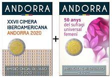 "2 x 2 Euro Gedenkmünze Andorra ""Iberoamerika-Gipfel & Frauenwahlrecht"" 2020 BU"