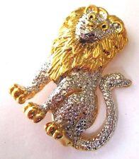 broche bijou vintage collection qualité lion couleur or et argent poli *182