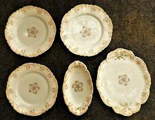 HAVILAND & CO LIMOGES PORCELAIN 3 SALAD PLATES & 2 SERVING PLATES PINK ROSES