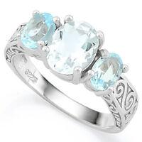 Damen Ring Rahel, 925er Silber, 3,871 Kt. echter Aquamarin & Blautopas