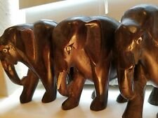 3 Antique Elephant Wood Carvings Home Decor