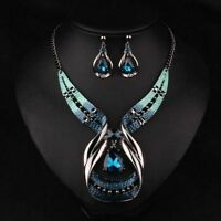 Charm Jewelry Set Women Crystal Chunky Statement Chain Pendant Necklace Earring