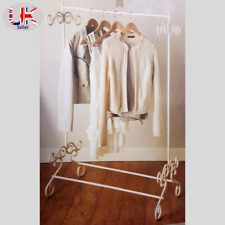 Shabby Chic Cream Metal Garment Rail Vintage Style Clothes Hanging Stand Rail