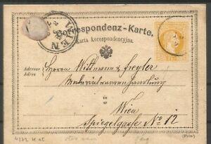 Poland,Austrian occupation,1873, postal stationery card Rozwadow to Vienna