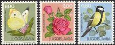 Yugoslavia 1974 Great Tit/Birds/Roses/Flower/Butterfly/Nature 3v set (s2689)