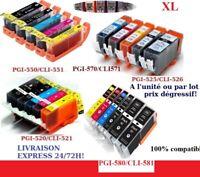 Cartouches compat Canon Pixma PGI CLI 525 526 520 521 550 551 570 571 580 581 XL
