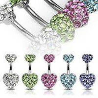 Heart Paved CZ Gem Belly Ring Navel Naval Clear, Purple, Aqua, Pink, Green