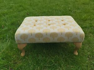 Handmade Upholstered Footstool in Ochre Orchard design and Mustard Buttoning