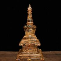 "9.5"" Tibet Buddhism Temple Fane Old Crystal Carved Buddha tower stupa Sculpture"