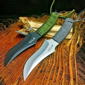 Trailing Point Knife Hunting Wild Survival Tactical Combat High Carbon Steel Cut