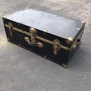Antique Steamer Trunk. Metal Army Footlocker. Leather Handles And Metal Lock.