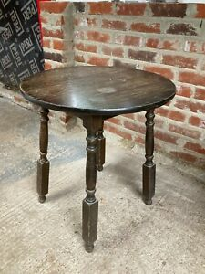 Vintage Brown Solid Wooden Round Side End Garden Table Detachable Legs