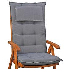 4 Luxus Auflagen mit Kopfpolster in grau für Hochlehner Sessel hoch Gartenstuhl