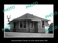 OLD LARGE HISTORIC PHOTO OF ROCKWOOD ONTARIO CANADA, THE RAILROAD STATION c1960
